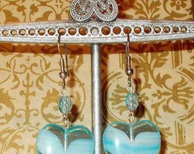 Vintage 90s Hippie Chic Handmade Blue Heart Glass Bead Dangle Stainless Steel Earrings