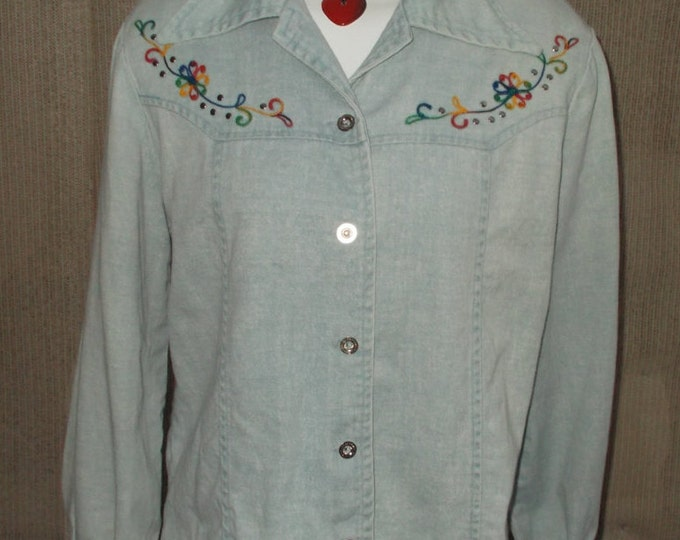 Vintage 70's Country Western Floral Rainbow Embroidered Cowgirl Blue Jean Denim Women's Long Sleeve Blouse Shirt Top