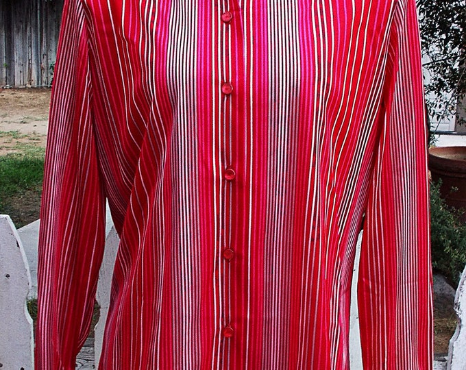 Vintage Deadstock 70s Graff Californiawear Red Pink Striped Long Sleeve Blouse Shirt