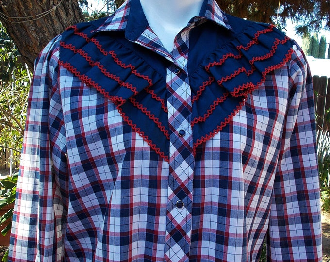 Vintage 80's Kenny Rogers Western Collection by Karman Red White Blue Plaid Ruffles Women's Snap Shirt