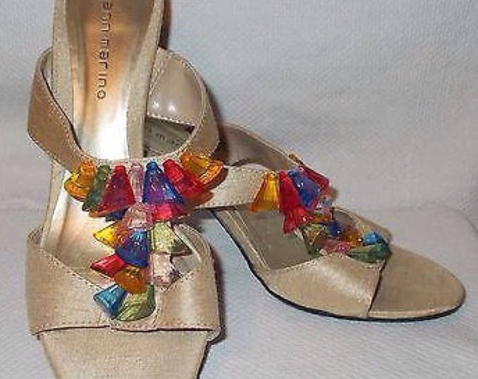 Vintage 90's Ann Marino Gold Rainbow Lucite Plastic Bead Accents Women's Sandals Strappy Heeled Shoes