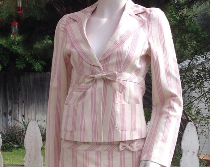 Vintage 90's Forever21 Pink White Striped Cotton Linen Preppy School Girl Junior Long Sleeve Jacket Micro Mini Skirt