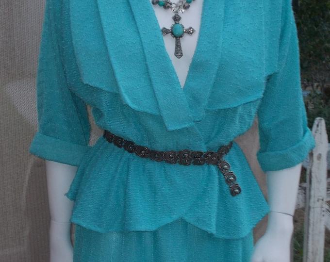 Vintage 80's Orleon de Paris V-Neckline Blue Aquamarine Secretary Women's Blouse Skirt Dress Set Coordinated Outfit