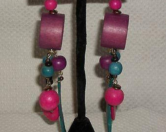 Vintage 60s 70s Boho Hippie Chic Multi-color Purple Pink Blue Wood Bead Handmade Atomic Space Age Drop Dangle Stainless Steel Earrings