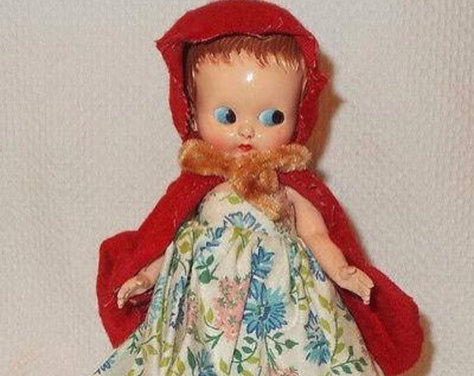 Vintage 60s Plastic Molded Arts Doll Co. Red Riding Hood Hard Plastic Doll Toy Flirty Blue Eyes Jointed Arms Original Dress