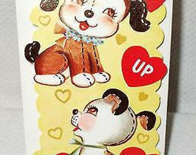 """Vintage 50s 60s """"I Am Looking Up At You"""" Puppy Dogs Unused Valentines Day Greeting Card"""