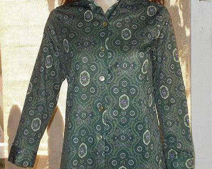 Vintage 70's Land N Sea MOD Hippie Chic Green Purple Floral Paisley Blouse Shirt