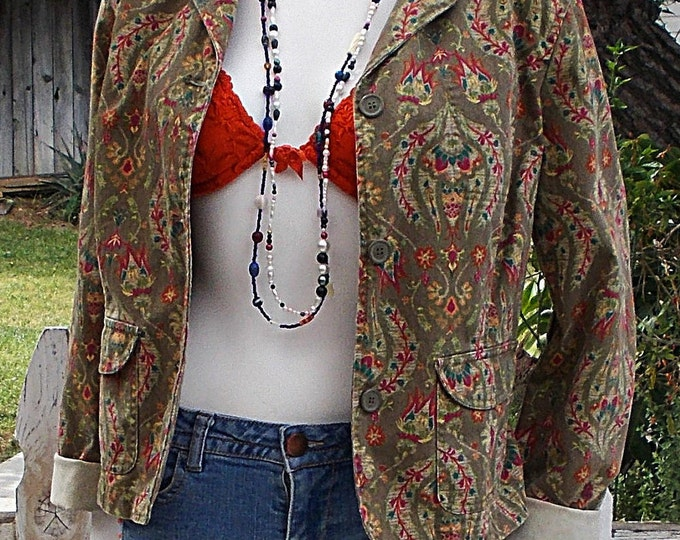 Vintage 90's Liz Claiborne Green Red Floral Leaf Paisley Cotton Denim  Women's Blazer Jacket