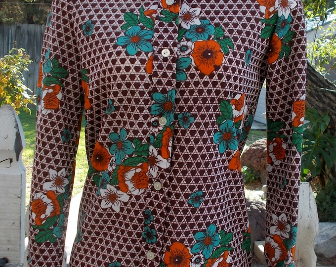 Vintage 70's Mod Hippie NPC Fashions Brown Orange White Geometric Floral Women's Blouse Top