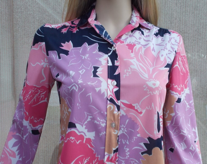 Vintage 70's Vera Floral Hippie Chic MOD Pink Purple Psychedelic Flowers Blouse Shirt Top