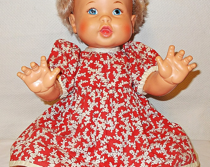 Vintage 70s 1973 Rub A Dub Doll Ideal Toy Co Plastic Vinyl Doll Blue Painted Eyes Red White Floral Handmade Dress Panites