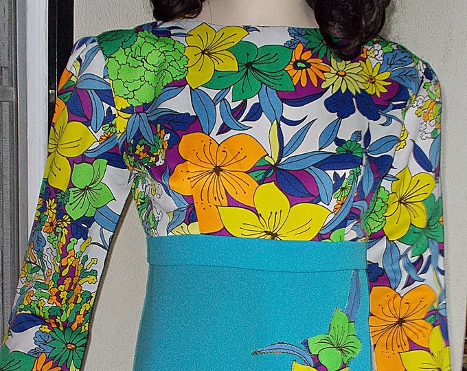 Vintage Handmade 70's Psychedelic Flower Power Blue Green Orange Yellow Embellished Flowers Hawaiian Style Hostess Maxi Dress