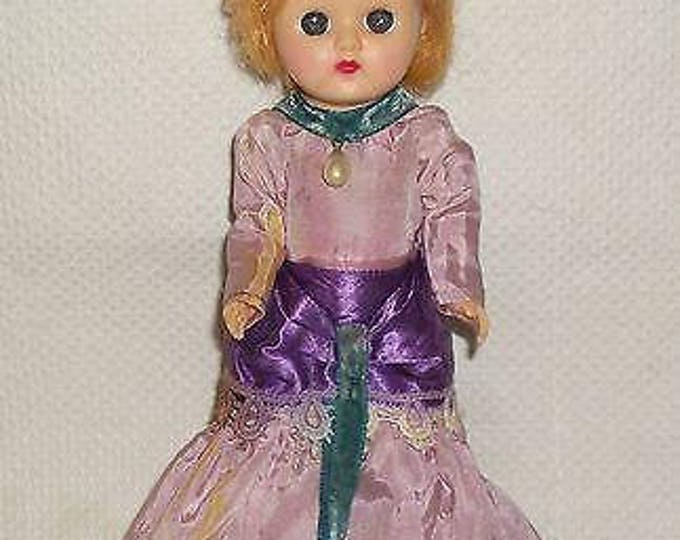 Vintage 70's Cosmopolitan Ginger Hard Plastic Doll Blue Sleep Eyes Strawberry Blonde Wig In Original Clothes Gibson Girl Purple Dress