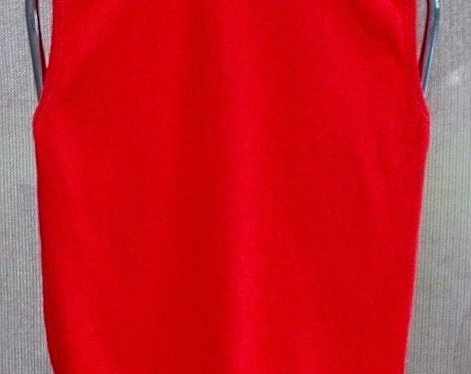 Vintage 70's Mod Bright Red Nylon Stretch Go-Go Women's Sleeveless Pullover Top