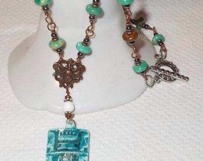 Boho Chic Green Brown Bead Handmade Carnelian Turquoise Gemstone Cooper Wire Wrap Pendant Necklace
