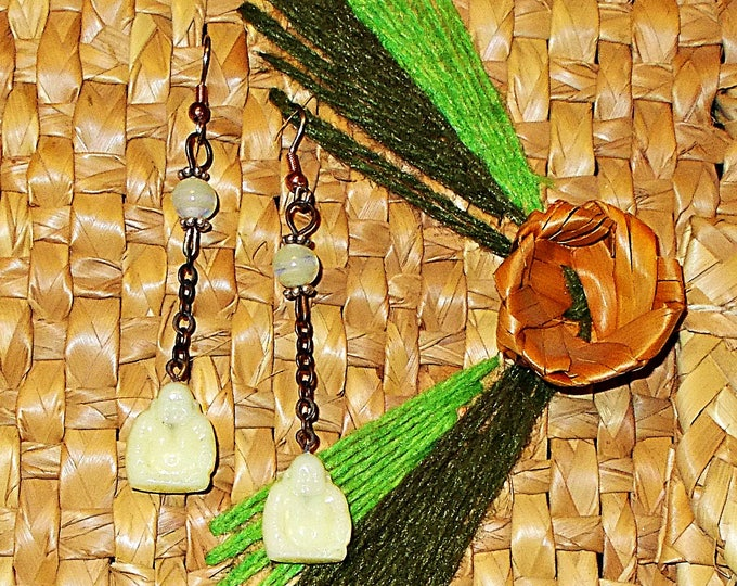 Vintage 90's Handmade Chandelier Flapper Style Old Glass Czech Buddha Bead Boho Hippie Chic Earrings