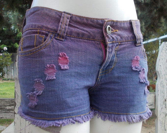 Vintage 90s Boho Hippie Chic 1st Kiss Purple Pink Distressed Denim Festival Style Juniors Cutoff Short Shorts