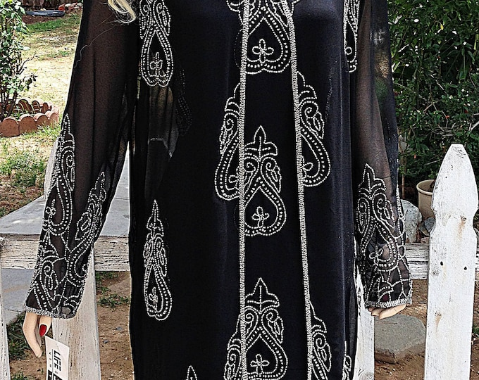 Vintage 90s Womens Black Silver Bead Cocktail Evening Special Occasion Formal Sleeveless Dress Long Sleeve Coat Set