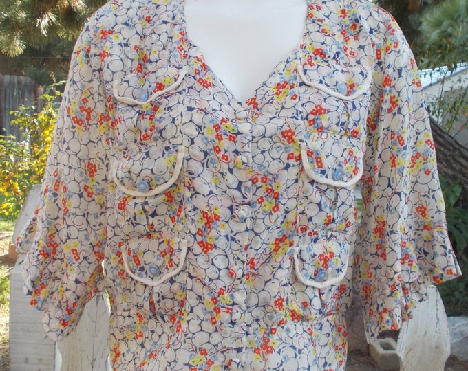 Recycled Upcycled Yellowfield 8 Sheer Boho Blue Red White Floral Sheer Cotton Blouse Shirt Top