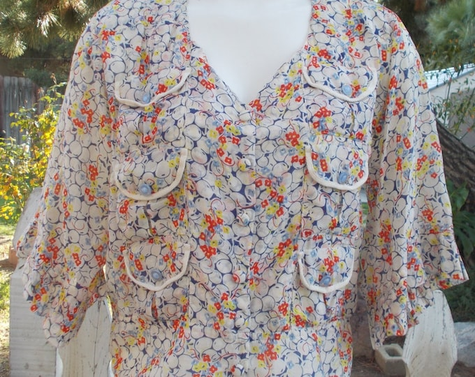 Recycled Upcycled Yellowfield 8 Sheer Boho Blue Red White Floral Cotton Women's Half Sleeve Blouse Shirt Top