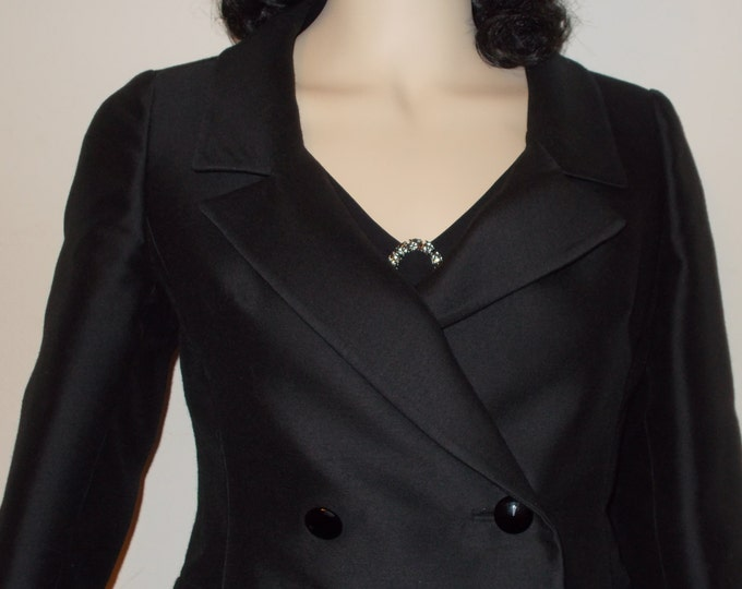 Vintage 90s Special Occasion Joseph Magnin Black Evening Cocktail Womens Long Sleeve Double Breast Short Blazer Jacket