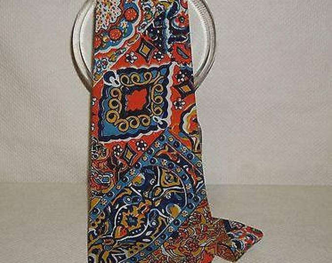 "Vintage 60's ""Batek"" Hippie Hipster Blue Orange Cotton Batik Paisley Psychedelic Wide Men's Necktie Neck Tie"