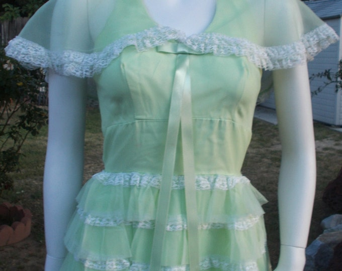 Vintage 60s Gone With The Wind Southern Belle Nadine Green Chiffon Special Occasion Women's Full Length Tiered Ruffles Halter Dress