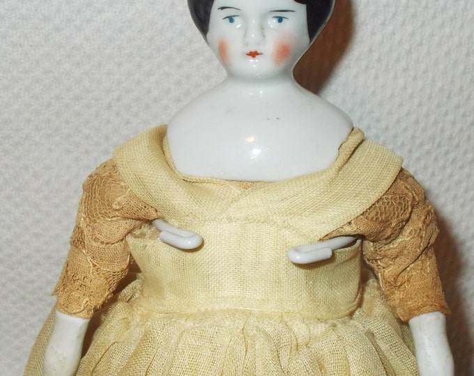 Antique Vintage Hertwig German China Head Porcelain Dollhouse Doll Toy Black Molded Common Hair Original Clothes Marked Germany