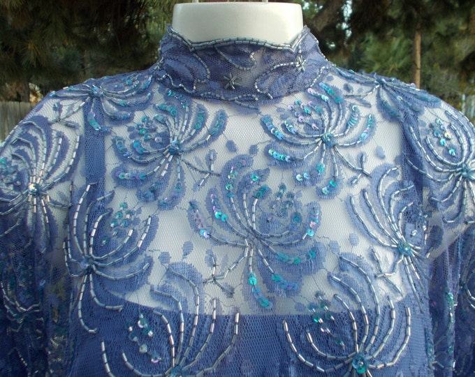 Vintage 80's Judith Ann Creations Nora Zandra' Blue Bead Floral Lace Evening Special Occasion Bubble Drop Waist Dress