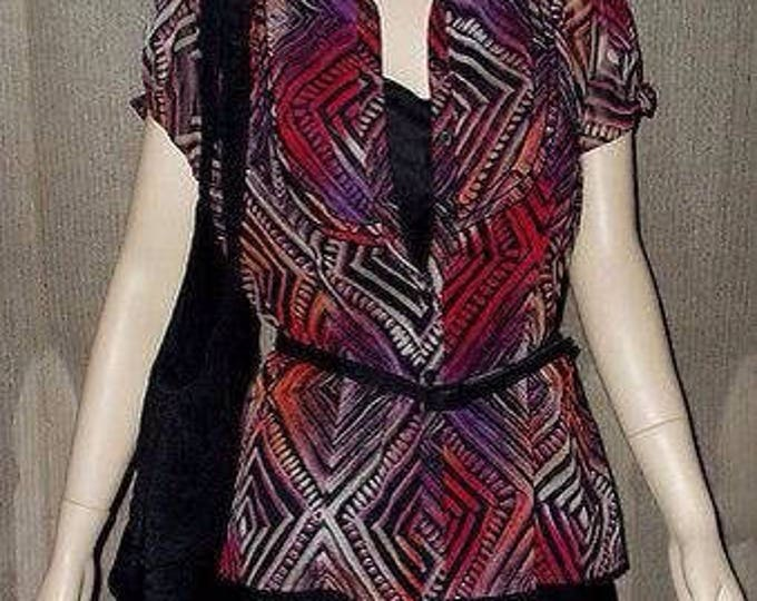 Vintage 90's East 5th Black Pink Red Sheer Polyester Geometric Secretary Women's Short Sleeve Blouse Tank Top Belt Set