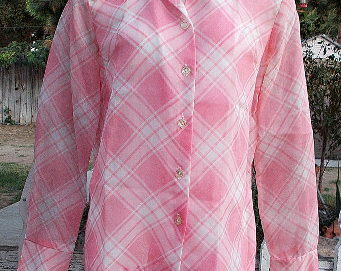 Vintage 70's Preppy Secretary Pink White Cotton Diagonal Stripes Sheer Blouse Women's Long Sleeve Shirt Top