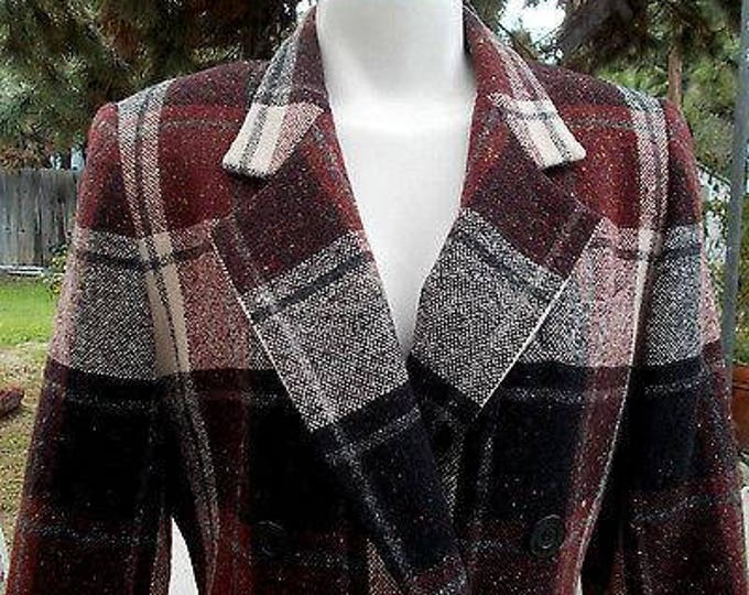 Vintage 80s Classic Preppy Oleg Cassini Navy Blue White Red Wool Plaid Tweed Womens Long Sleeve Blazer Jacket 8P