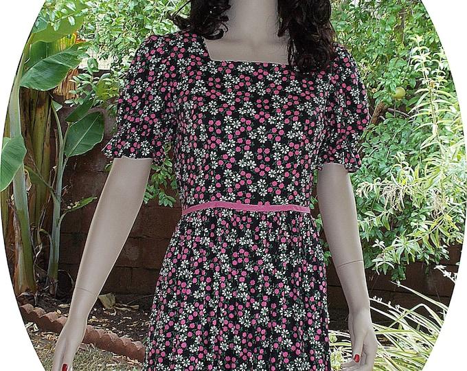Vintage 70s Boho Hippie Festival Black Pink Floral Cotton Calico Peasant Prairie Handmade Womens Short Sleeve Maxi Dress