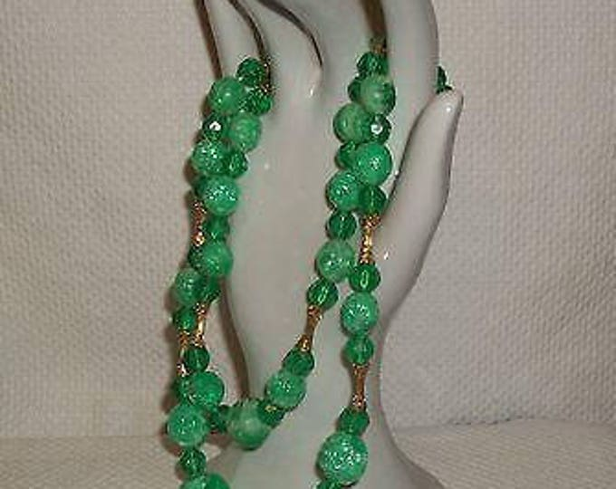 Vintage 50's 60's Green Plastic Beaded Double Strand Stainless Steel Necklace