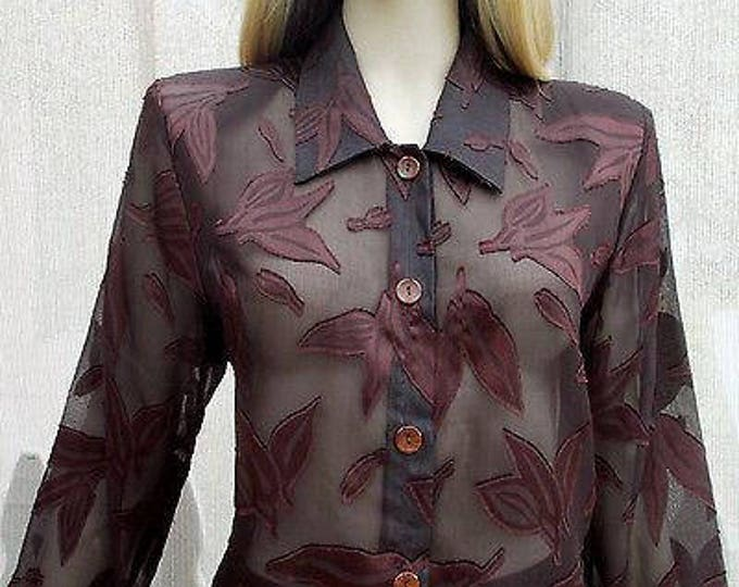 Vintage 90s Gemini Brown Leaf Polyester Sheer Womens Long Sleeve Career Blouse Shirt L