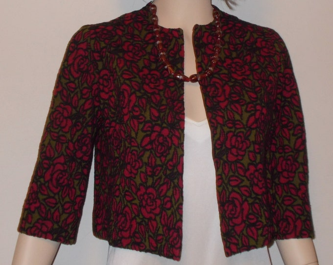 Vintage Handmade 80's Black Green Red Rose Floral Women's Short Bolero Coat Evening Cover-up Wrap Jacket