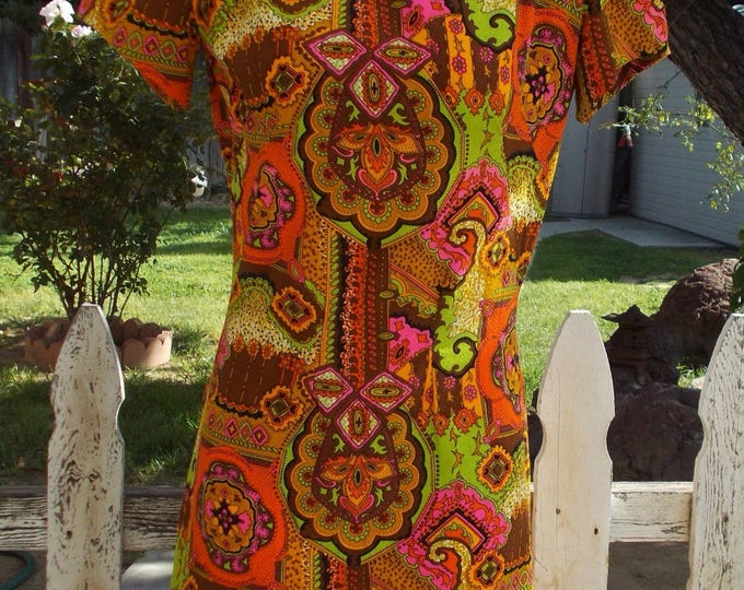 Vintage 70's Handmade Hawaiian Tiki Dress Orange Pink Paisley Psychedelic Flowers Aloha Maxi Dress