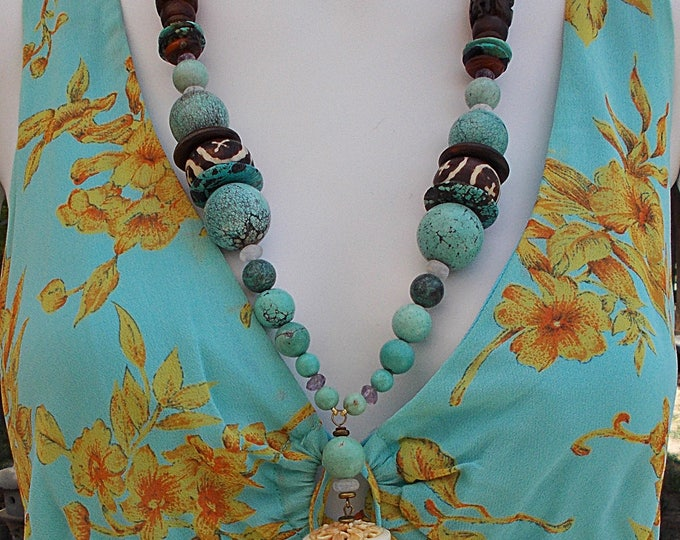 Vintage Handmade 90's Amethyst Chinese Turquoise Horn Molded Resin Carved Bone Bird Snake Chunky Bead Pendant Necklace
