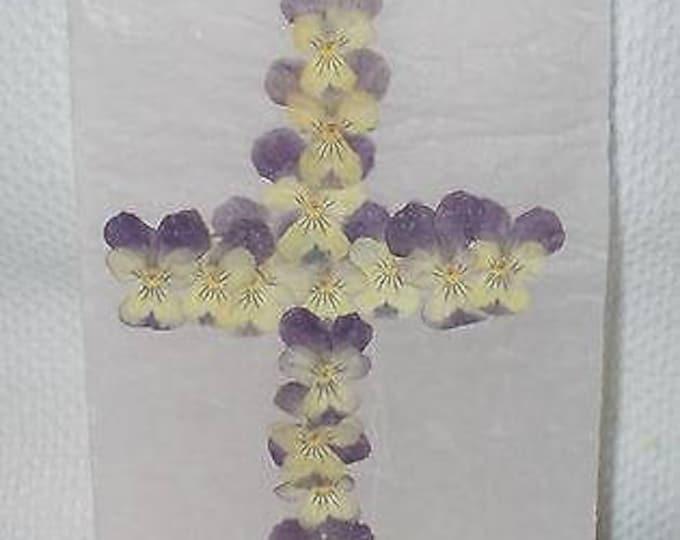 Vintage Handmade 90's Vellum Pressed Dried Flower Art Purple Yellow Pansies Flowers Easter Cross Greeting Card