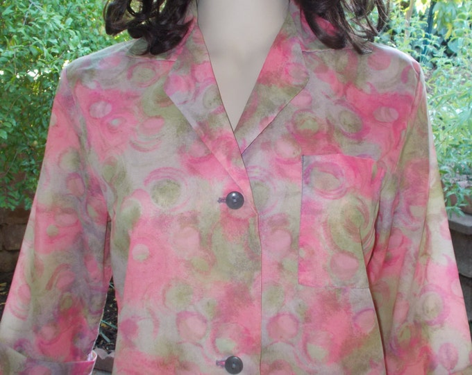 Vintage 50's 60's Crispy Nylon Housecoat Pink Flowers Fashioned by Philis Bathrobe Floral Dressing Gown Housedress