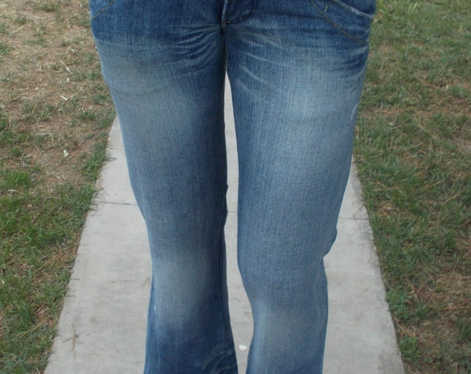 Vintage 90s Retro Miss Sixty Distressed Low Waist Hip Hugger Women's Blue Jean Straight Leg Denim Pants