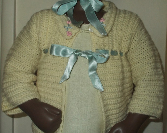 Vintage Handmade 40's 50's Beige Blue Knitted Outfit Wool Ribbon Infant Baby Doll Boy Girl Bonnet Sweater Set