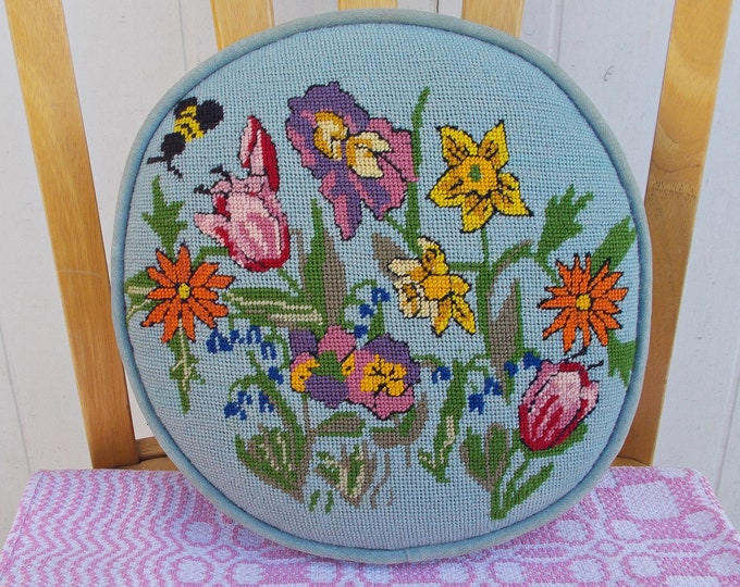 Vintage Handmade 50's Blue Yellow Bumble Bee Floral Wool Velour Needlepoint Plush Soft Home Decor Round Pillow