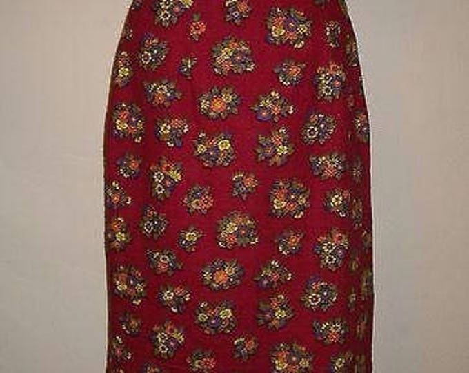 Vintage Handmade 70's Boho Hippie Chic Red Cotton Orange Purple Yellow Floral Flowers Leaf Knee Length A-Line Skirt