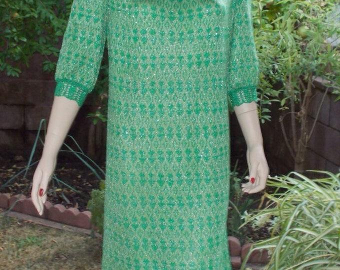 Vintage 70s MOD Green Silver Metallic Knit Geometric Pullover Shift Dress