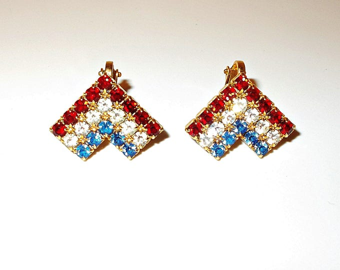 Vintage 70's Red White Blue Gold V Rhinestone Women's Clip On Huggie Earrings
