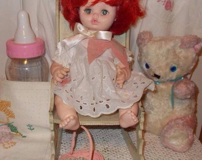 Vintage 70's 1975 Play Pal Plastics Girl Doll Toy Rooted Red Hair Green Sleep Eyes Original White Eyelet Dress