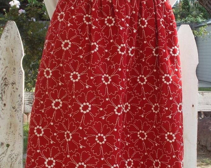 Vintage 80's Boho Hippie Chic Red White Embroidered Flowers Preppy School Girl Handmade Knee Length Skirt