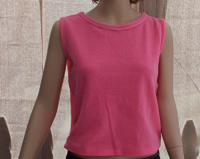 Vintage 60's Mod Boho Hippie Made In Japan Hot Pink Nylon Stretch Women's Sleeveless Pullover Top