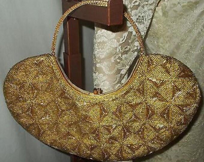 Vintage 50s La Regale LTD Gold Beaded Cocktail Evening Clutch Handbag Purse
